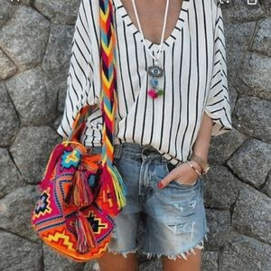 Wayuu Mochilas multicolor woven/knit bucket bag❤️